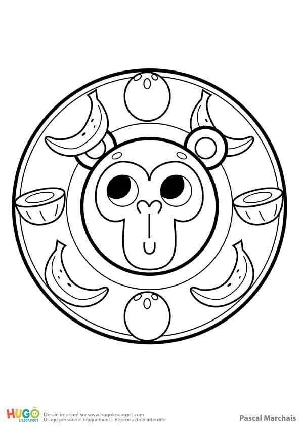 Coloriage Et Illustration Dun Mandala Singe Pour Les Petits Un