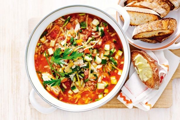 Beat the cold weather with this Chicken and chorizo minestrone. #soup #recipe