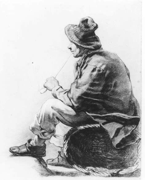 Negentiende-eeuwse Scheveningse dracht. Een visser met pijp zit op een omgedraaide rieten mand. Hij draagt een slappe hoed, stropje, hemdrok 1875 W. Hoevenaar; krijt #ZuidHolland #Scheveningen