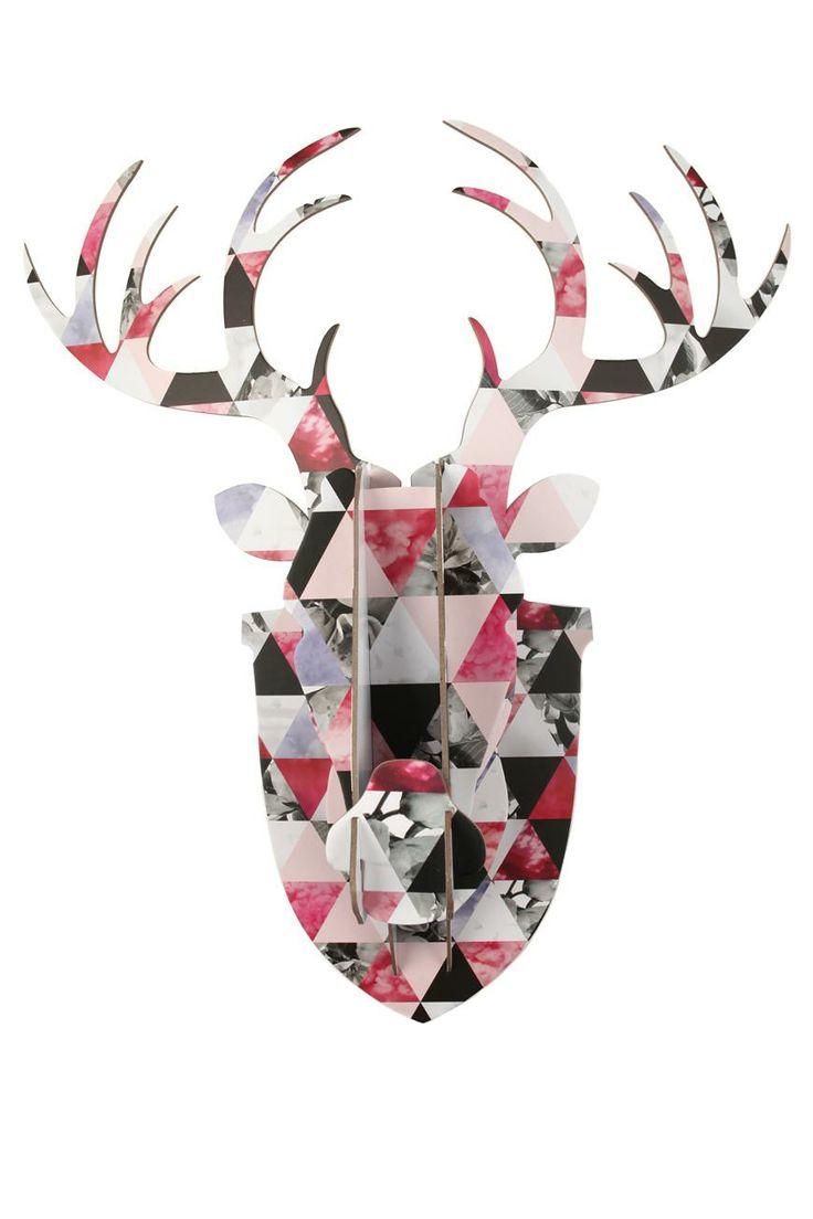 cardboard stag head | pinks + greys + black + white | 60cm x 55 cm | typo