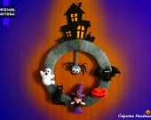 Ghirlanda Halloween pannolenci feltro - Casa stregata, fantasma, gatto nero, strega, zucca, pipistrello, ragno Halloween Wreath felt - Haunted house, ghost, black cat, witch, pumpkin, bat, spider