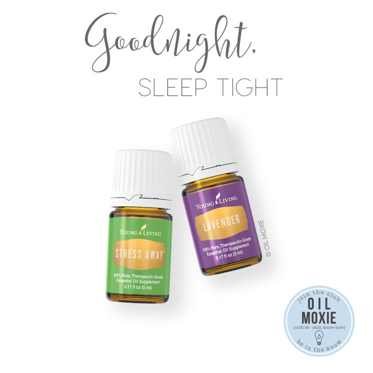 I like diffusing these two oils (3 drops each) -OR- adding 4-8 drops Lavender and 6-12 drops Stress Away to a 10-ml roller bottle. Then I fill the rest of the bottle up with carrier oil and roll on the wrists, behind the ears, on the back of the neck, and/or on the bottom of the feet before crawling into bed.