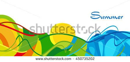 Rio. Summer 2016 Brazil background. Rio de Janeiro abstract Summer landscape. Summer Athletic competition. Sport Brazil Vector Illustration for design, advertising. Brazil beach Summer camp. Rio Sport - stock vector