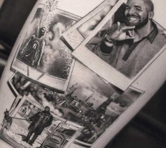 Black and grey realistic tattoo style of Polaroid photos memories motive done by tattoo artist Bro Studio