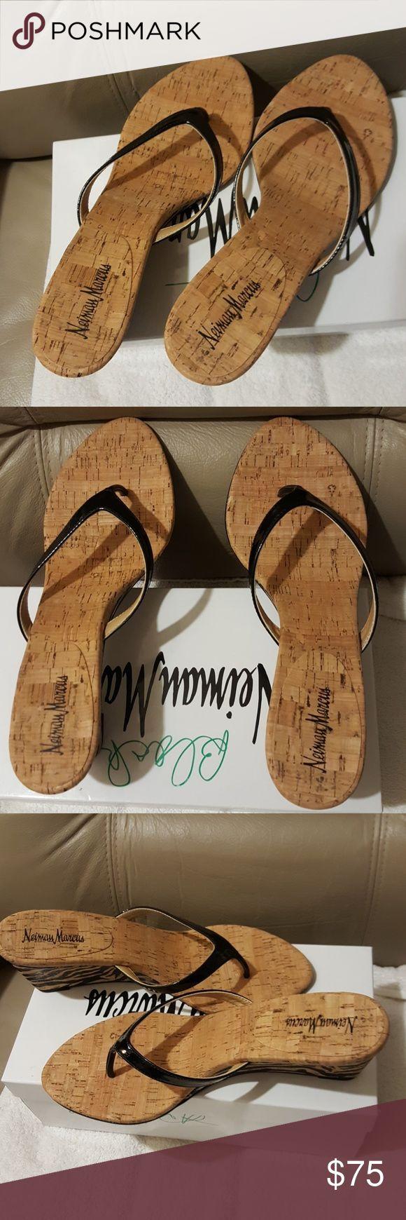 Neiman Marcus black patent splitter wedge sandal Brand new never worn size 10 Neiman Marcus Shoes Sandals