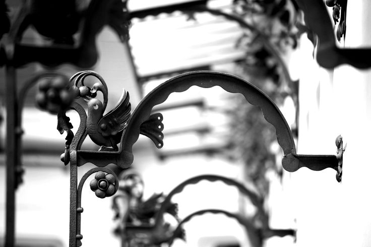 Wonderful ornamental detail of the wrought iron railings decorating the Four Seasons Gresham Palace.