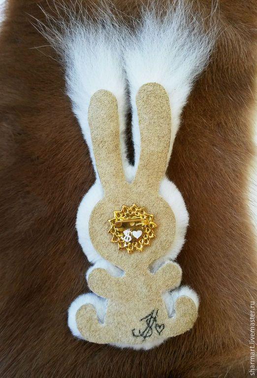 Купить Меховая брошка  Белый Зайка СКИДКА ! - белый, брошка, зайка, зайченок