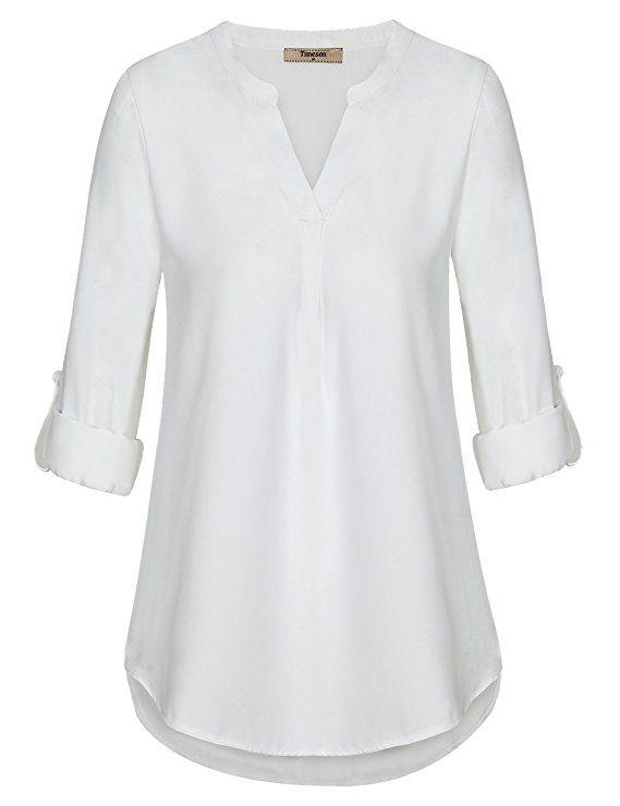 08f57f43f10d18 Timeson Women s Casual Chiffon V Neck Cuffed Sleeve Blouse Tops ...