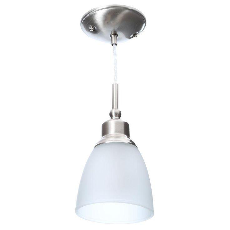 Commercial Electric 1-Light Brushed Nickel Mini Pendant (3-Pack)-HBV8991-BN…