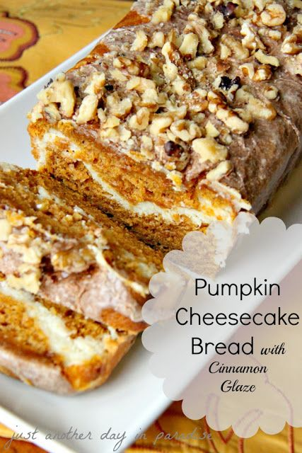 pumpkin cheesecake bread with cinnamon glaze