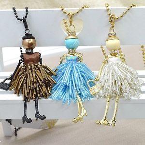BEAUTIFUL-handmade-grandi-GIRL-BAMBOLA-Oro-Argento-Perline-Collana-STYLE-1-Anno-Nuovo