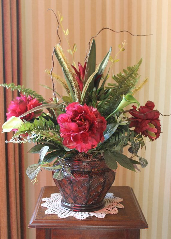 Burgundy Floral Centerpiece by SilkEleganceFlorals on Etsy, $94.95