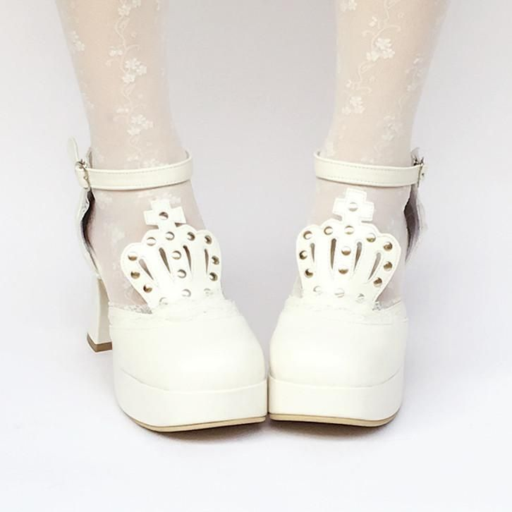 157c50239bd Custom Made White Crown Princess Platform Shoes SP168283