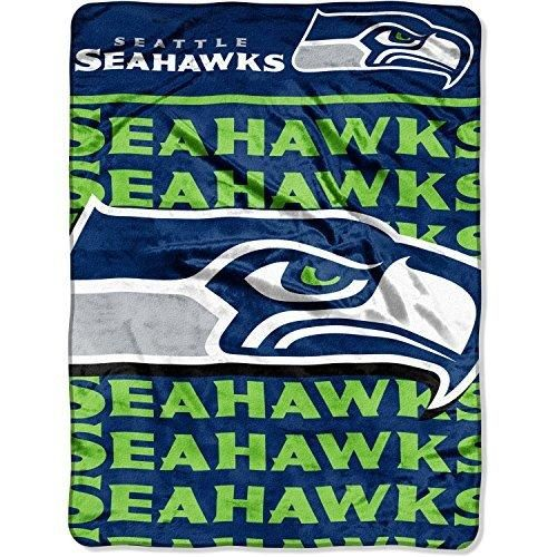NFL Seahawks Raschel Throw Blanket 46 X 60 Football Themed Bedding Sports Patterned Team Logo Fan Merchandise Athletic Team Spirit Fan Blue Bright Green Silver Polyester