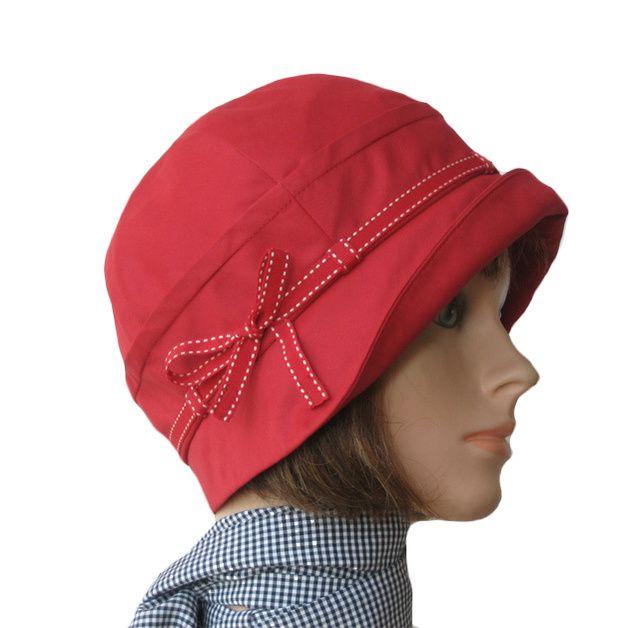 """Hüte - Herbst """"MADELAINE"""" 20-er Glocke rot ... - ein Designerstück von riss-design bei DaWanda"""