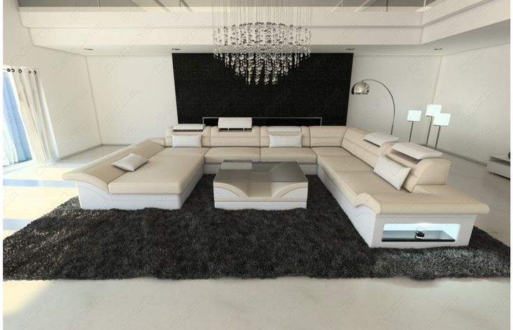 stoff wohnlandschaft enzo xxl led u form in sandbeige wei exklusiv bei sofa dreams. Black Bedroom Furniture Sets. Home Design Ideas