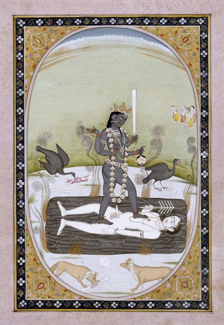 Kali on Siva, Kangra Style, 19th c. gouache on paper