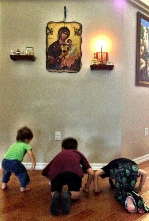 "Orthodox Mom's sons doing metanoias after Compline...   ""Train up a child in the way he should go..."""
