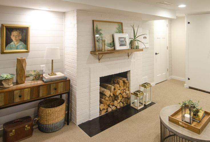 A Shiplap Accent Wall Totally Transformed This Ugly Basement Room   #sponsored @homedepot