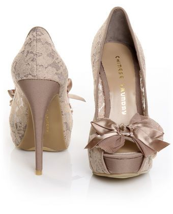 lace. bow. heels. perfect.Chinese Laundry, Bows Heels, Chineselaundry, Style, Wedding Shoes, Lace Heels, Lace Shoes, High Heels, Lace Bows