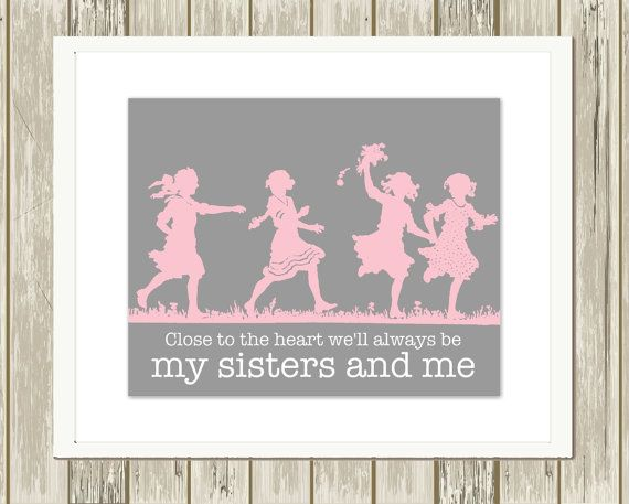 Sisters wall art four sisters siblings wall by PicabooArtStudio