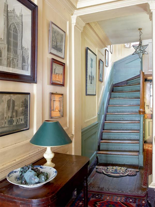 Idea for colored wainscoting up the stairs