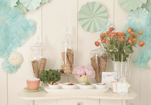 Ice Cream Social Party Ideas/Inspiration ~ Party Frosting: Ice Cream Parties, Ice Cream Social, Ice Cream Theme, Ice Cream Bar, Bridal Shower, Tissue Flowers, Baby Boy, Icecream, Ice Cream Cones