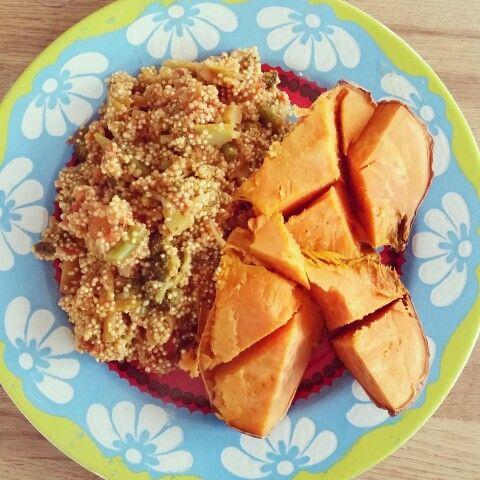 Baked sweet potato and quick veggie quinoa