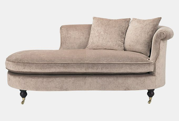 Clanfield chaise in Wesley-Barrell Stanford Velvet, stone #furniture #MadeinBritain