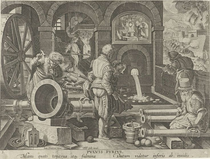 Philips Galle | Artilleriewerkplaats, Philips Galle, c. 1589 - c. 1593 | In een artilleriewerkplaats maken enkele ijzergieters een kanon gereed. Boven de smeltoven de uitvinder van het buskruit, Berthold Schwartz. Op de achtergrond de belegering van een stad door kanonnen. De prent heeft een Latijns onderschrift en maakt deel uit van een negentiendelige serie over nieuwe uitvindingen en ontdekkingen.