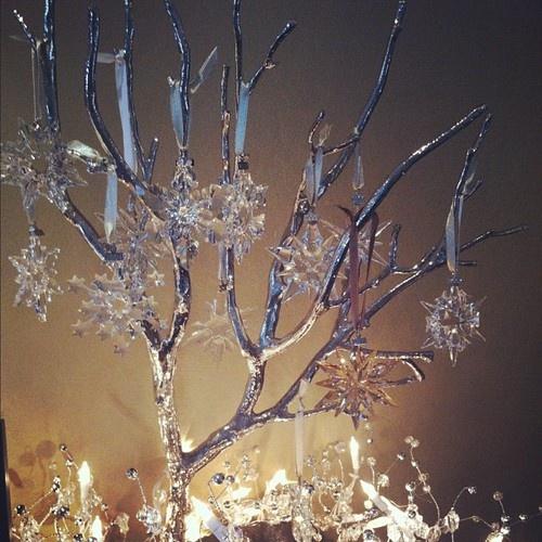 My mom's pretty Swarovski ornament tree.