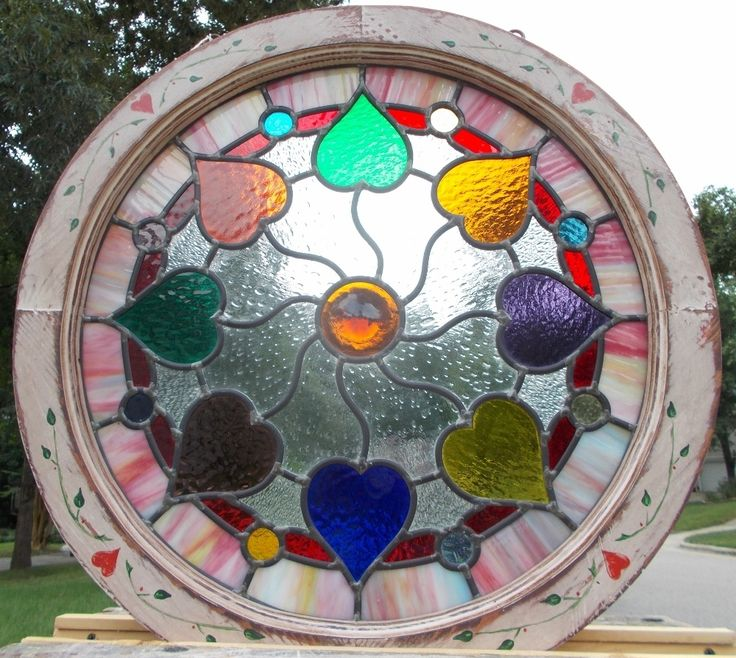 Round Victorian Hearts Leaded Stained Glass Window