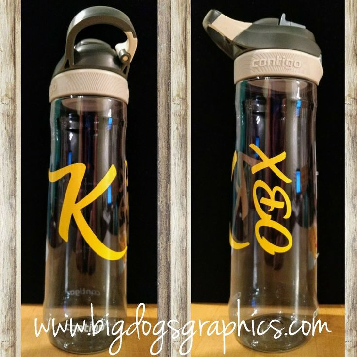 """This Contigo Water Bottle was brought in by a customer for the custom Yellow """"K"""" and """"OBX"""" on side. #gocontigo #waterbottle #fitness #customorders #obx #initials #shoplocal #shoplocalnc #buylocalnc"""