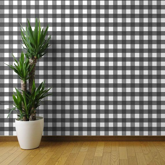 Black Buffalo Plaid Wallpaper Medium 3 Plaid By Danika Etsy Wallpaper Panels Plaid Wallpaper Peel And Stick Wallpaper