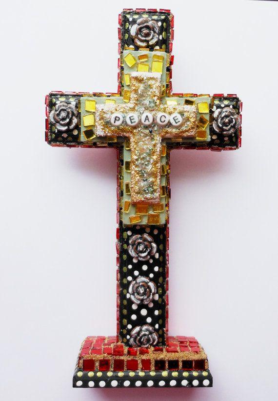 Кросс-продаж использованы найденный объект, смешанная техника бисером зеркало штук ручная роспись древесины на корню креста
