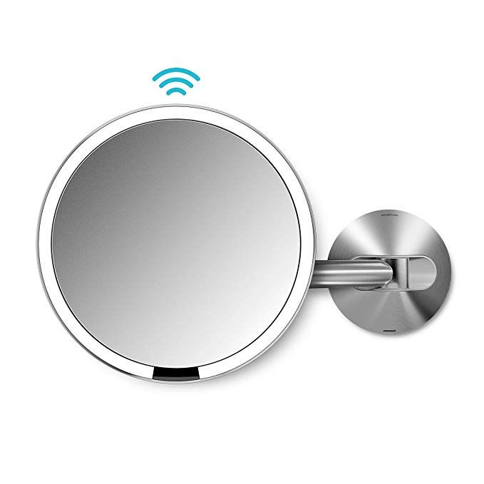 Simplehuman Sensor Lighted Makeup Vanity Mirror 8 Round Wall Mount 5x Magnification Stainless Steel Rechargea Makeup Vanity Mirror Light Sensor Simplehuman
