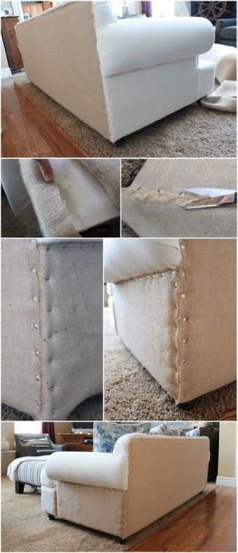 Burlap on the Side and Back of Sofa use thumb tacks as furniture tacks