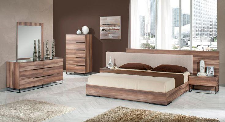Modrest Matteo Italian Modern Walnut & Fabric Bedroom Set