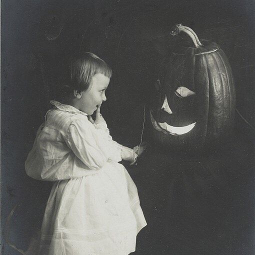 Child with Jack-o-lantern, Photoprint, 1906. J. Horace McFarland Collection, Archives of American Gardens.