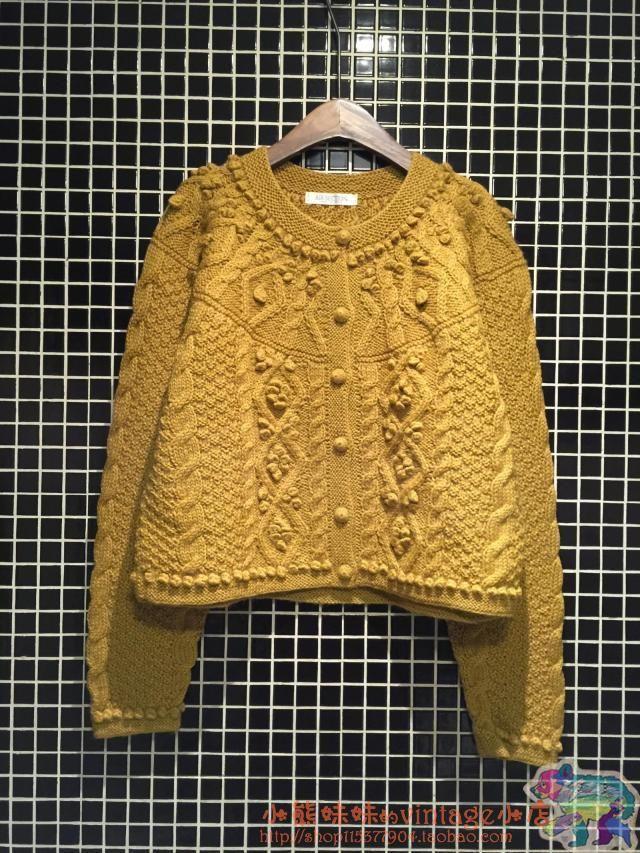 古着vintage日系100%羊毛纯手工编织 纯色系牛奶豆羊毛毛衣-淘宝网全球站