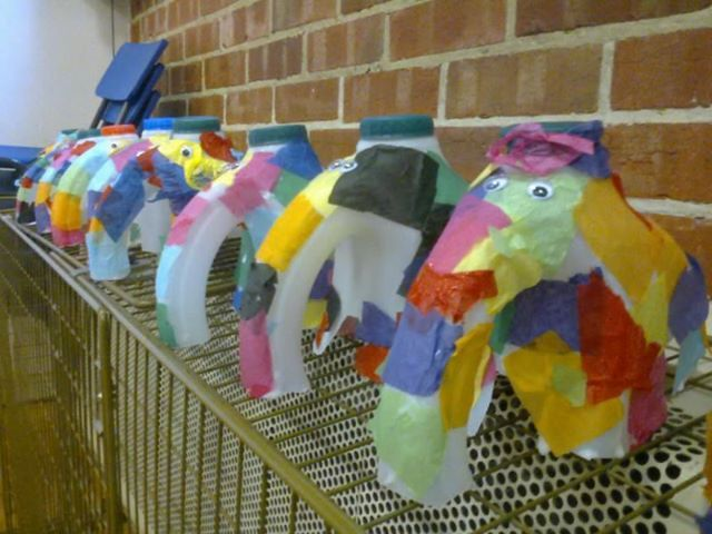 'Elmer' elephant craft made from milk cartons