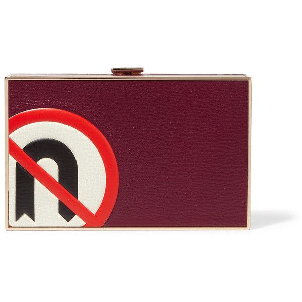 Anya Hindmarch - Imperial No U Turn Textured-leather Clutch (£460) ❤ liked on Polyvore featuring bags, handbags, clutches, burgundy, burgundy tote, burgundy tote bag, purple tote, clasp purse and burgundy handbags