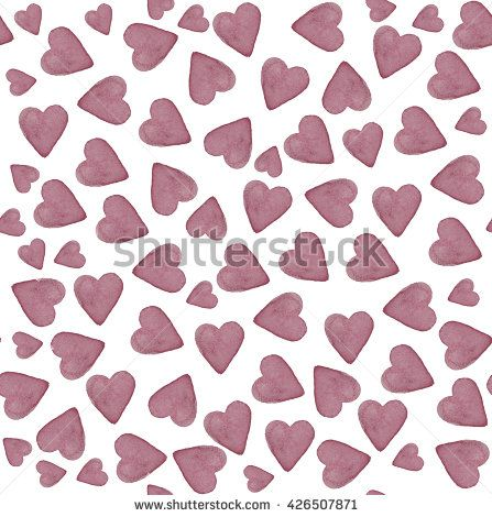 Watercolor hand painted hearts pattern. Seamless texture in purple colors. - stock photo