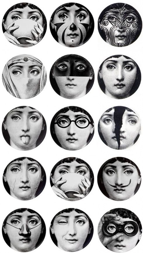 Piero Fornasetti plates: Inspiration, Rooms Wall, The Faces, Piero Fornasetti, Pierofornasetti, Things, Design From, And Design, Fornasetti Plates