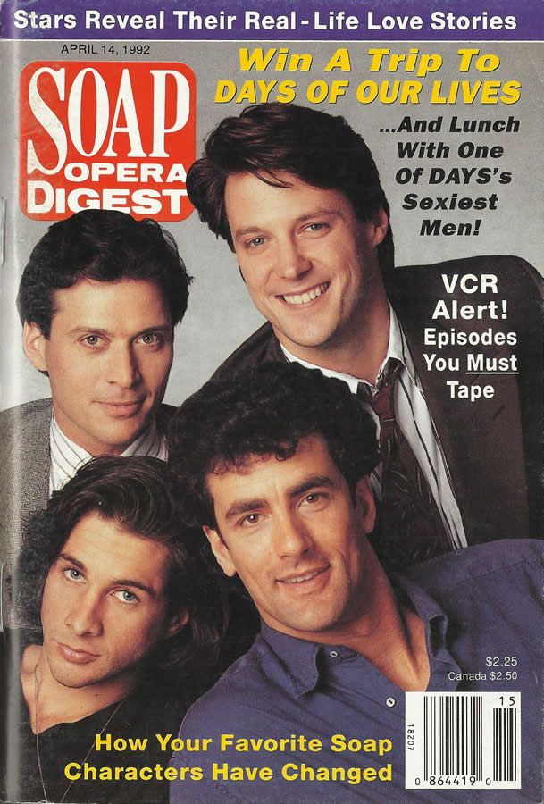 classicsodcovers:Classic SOD Cover Date: April 14, 1992 (clockwise from top) Matthew Ashford, Robert Mailhouse, Michael Easton, & Michael Sabatino (Jack, Brian, Tanner, & Lawrence, DAYS OF OUR LIVES)