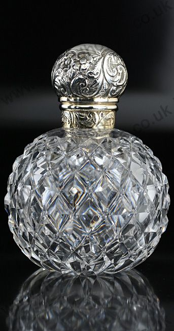 ANTIQUE GLASS: DRESSING TABLE BOTTLE, SETS, BOXES, POTS, & RELATED. 1898 CUT CRYSTAL SPHERICAL SCENT PERFUME BOTTLE, SILVER TOP. To visit my website click here: http://www.richardhoppe.co.uk or for help or information email us here: info@richardhoppe.co.uk