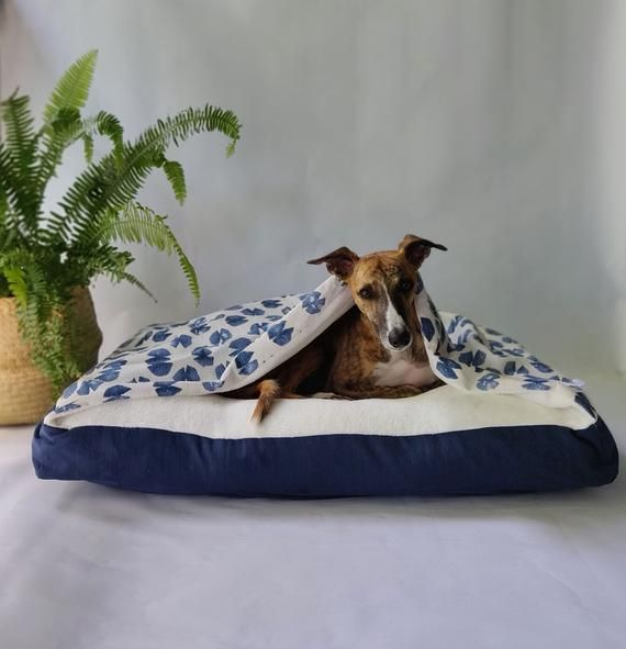Navy Blue Printed Snuggle Cave Dog Bed Cover Burrow Bed Cover Whippet Dachshund Italia Covered Dog Bed Cave Dog Bed Bed Covers
