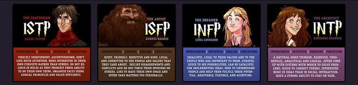 Harry Potter, Rubeus Hagrid, Luna Lovegood, Hermoine Granger   Which Harry Potter Character Best Fits Your Personality Type? I'm The Artist, which is Hagrid. Never would have considered myself that... O.O