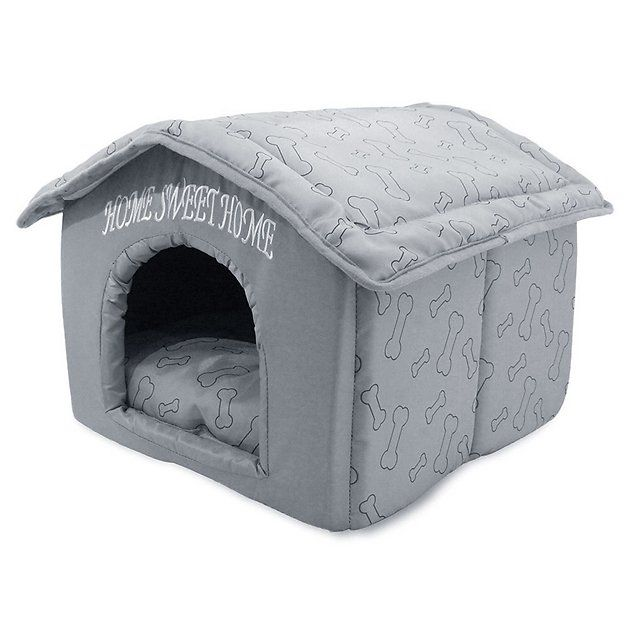Best Pet Supplies Home Sweet Home Plush Covered Cat Dog Bed Brown Bones Chewy Com Indoor Pets Pet Supplies Dog Bed Furniture