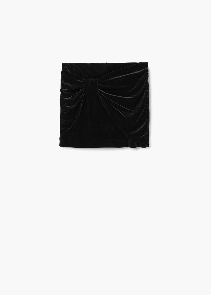 Drapped velvet skirt | MANGO
